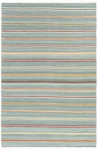Fredericksburg Solid Stripes 9 x 13 Rectangle Transitional 100 Wool Aqua Bright Orange Rust Olive Ivory Area Rug
