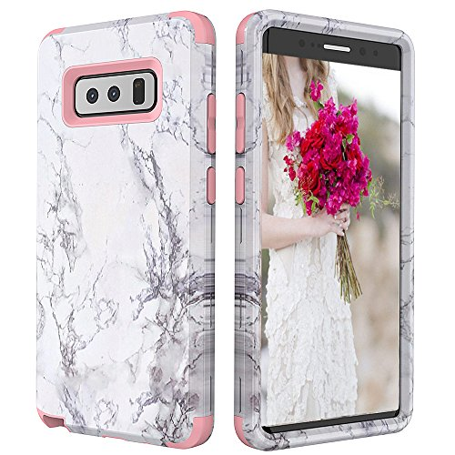 (Galaxy Note 8 Case,Note 8 Marble Case,Kudex Ultra Slim Clear Series Stone Glossy Pattern Design Dual Layer Shockproof Anti-Scratch Hybrid High Impact Protective Case Cover Women/Girls (Rose Gold))