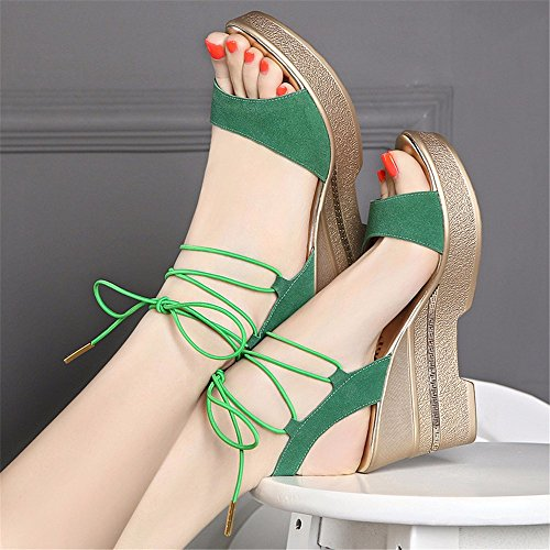 donna da alto e estiva con con in camoscio sandali aperta zeppa Ciabatta aperti YMFIE green cinturino tqwC4wE