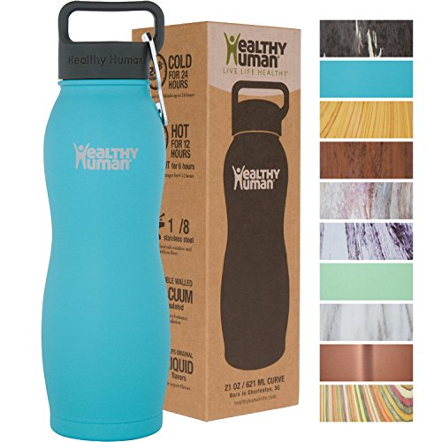 Healthy Human Curve Stainless Steel Insulated Travel Sports Water Bottle Thermos – BPA Free Cap with Hydro Guide & Carabiner Set – Glacier – 21 oz