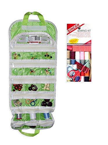 easyview-arts-crafts-and-sewing-organizer-green-with-singer-starter-sewing-kit-bundle