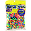 Darice Value Pack Pony Bead, 9mm, Neon Multicolor, 1000/Pack