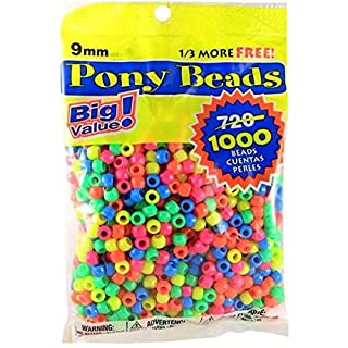 Darice Assorted Neon Pony Beads – Great Craft Projects for All Ages – Bead Jewelry, Ornaments, Key Chains, Hair Beading – Round Plastic Bead With Center Hole, 9mm Diameter, 1,000 Beads Per Bag