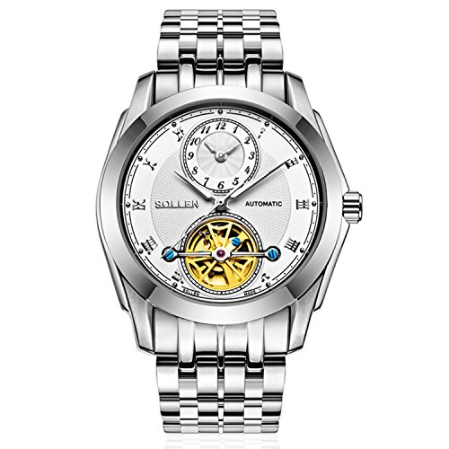 Dual Flywheels - SOLLEN SL-501 Men's Flywheel Automatic Dual Dial Business Wrist Watch Show Difference Time Zone (Silver)