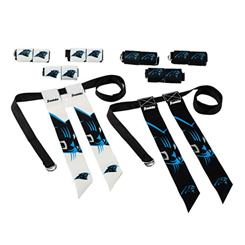 Franklin Sports Carolina Panthers Flag Football Set - 8 Flag Belts - 8 Player - Self Stick Tear-Away Flags - NFL Official Licensed Product