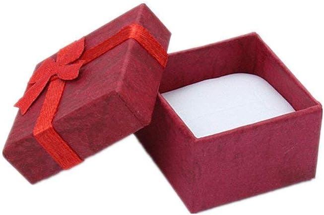 Mackur - Cajas de 4 x 4 x 2,5 cm para pendientes, joyería, regalo, caja de almacenamiento pequeña, cuadrada, collar, pulsera, paquete de papel, 5 unidades, papel, Rojo, 4×4×2.5cm: Amazon.es: Hogar