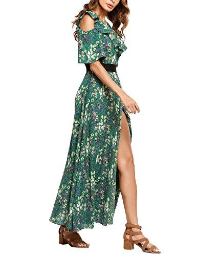Shoulder High Split Bohemian Women Zeagoo Side Green Maxi Floral Gade Dress Long Cold Ruffle qx0ftgf8w