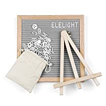 Kidshome Wooden Felt Message Board 340 Letters Number & Symbols Changeable Retractable Stand Reminder Versatile Modern Decoration Base Hook (Bag Included) (Gray)