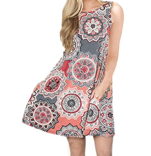 Gown Floral Beach Pattern2 Women O Coolred Dress Neck Ball Baggy Sleeveless 81ZnXwq0