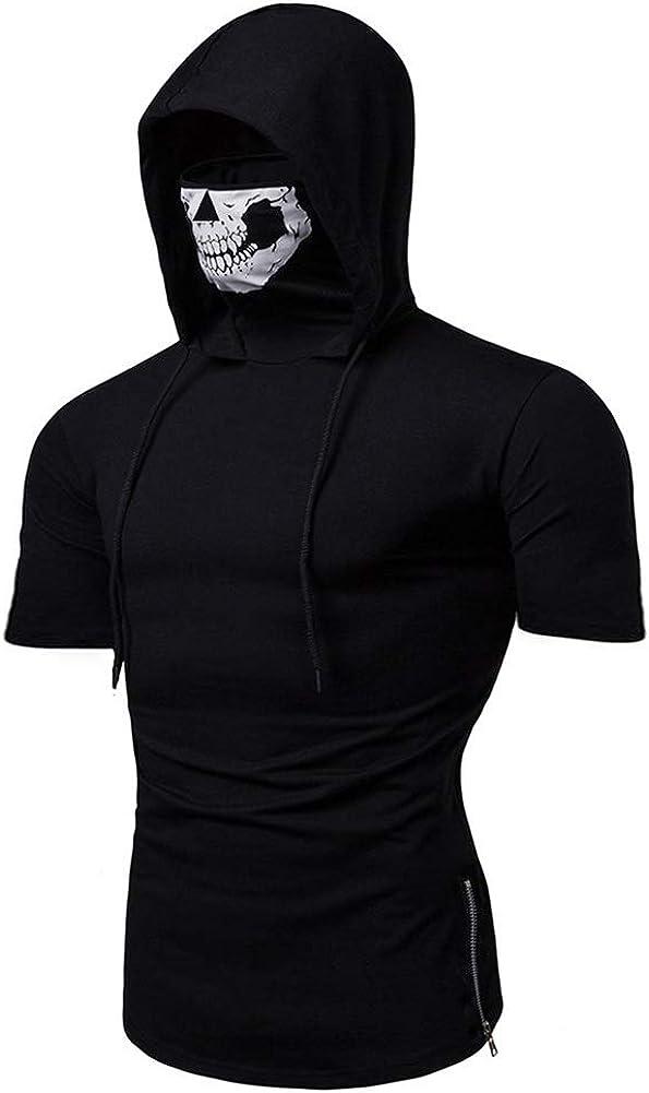 Short Sleeve Hoodies for Men - MorwebVeo Workout Sweatshirt for Men with Neck Gaiter Bodybuilding Athletic Shirt Tank Tops: Clothing