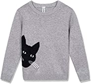 BOBOYOYO Girls Pullover Sweaters Long Sleeve Round Neck Cotton Knit Sweater with Cute Cat Pattern