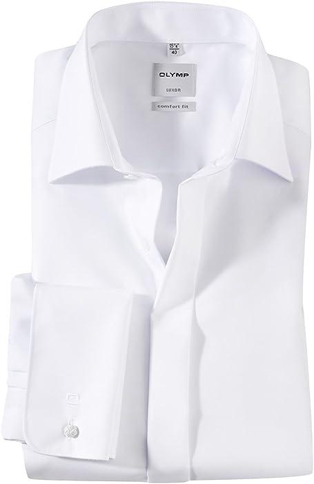 655a4f5f2f Olymp XXL Elegante Camisa Blanca de Manga Larga sin Plancha