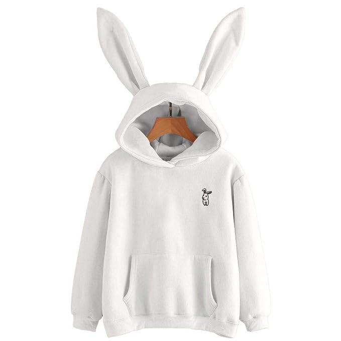 ❤ Sudadera con Capucha Conejo Orejas Mujer, Tefamore Sudadera Estampado Conejo de Manga Larga Blusa Tops Jersey Larga Pullover Sweatshirt para Mujer ...