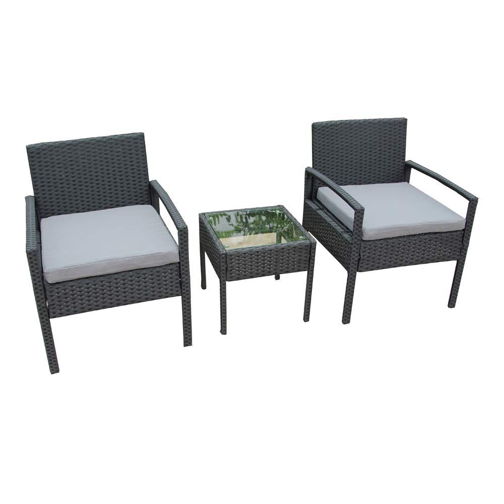 ALEKO RTF005BK Rattan Wicker Furniture 3-Piece Indoor/Outdoor Bistro Coffee Table Set Black