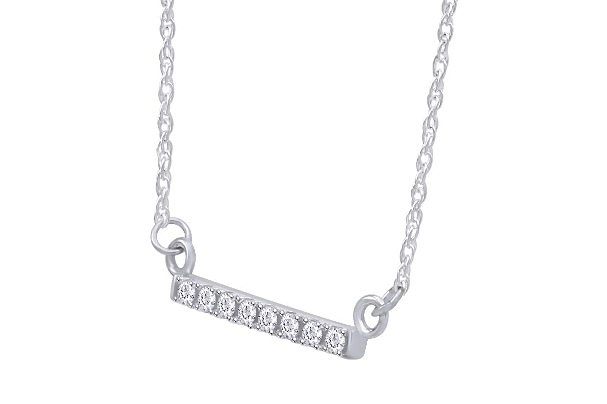 Samaira Jewelry Natural Diamond Bar Horizontal Pendant Necklace in 14K Gold Plated 925 Sterling Silver For Women 1 10 Cttw, I-J Color, I2-I3 Clarity