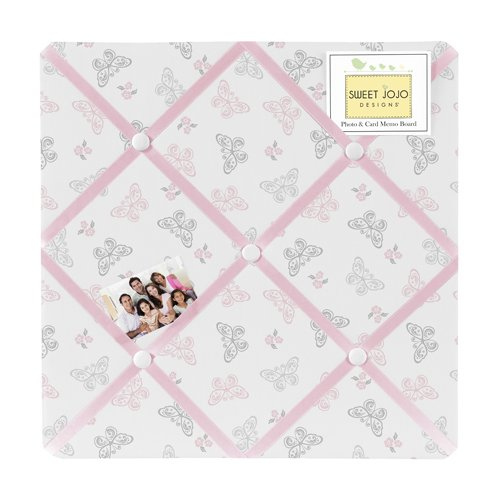 Pink, Gray and White Shabby Chic Alexa Damask Butterfly Fabric Memory/Memo Photo Bulletin Board