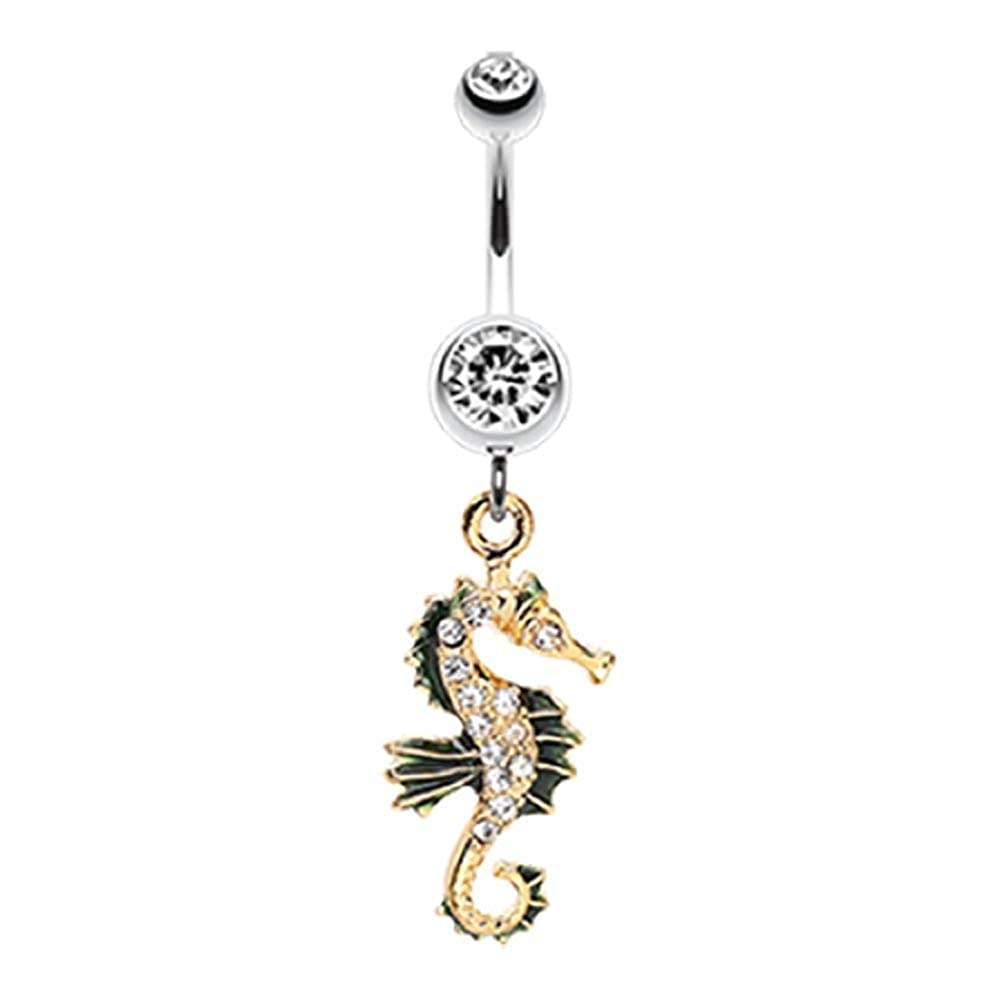 Covet Jewelry Sparkling Seahorse Dangle Belly Button Ring