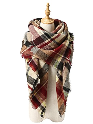 Durio Womens Scarves Winter Warm Scarfs for Women Plaid Blanket Tassel Shawls Wrap Oversized Scarf Light Red by Durio