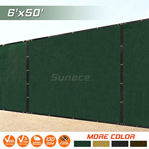 3 Windscreens - SUNACE 6' x 50' Heavy Duty Fence Privacy Screen Windscreen Shade Fabric Mesh Tarp - Green