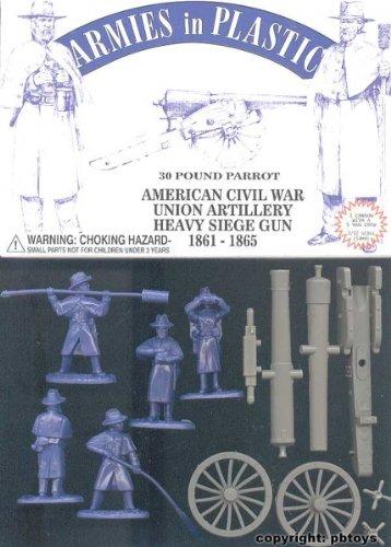 American Civil War Union Artillery Crew (5) w/30-Pound Parrot Cannon 1/32 Armies in Plastic