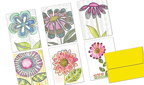 72 Note Cards - Watercolor Flowers - Blank Cards - Yellow Envelopes Included