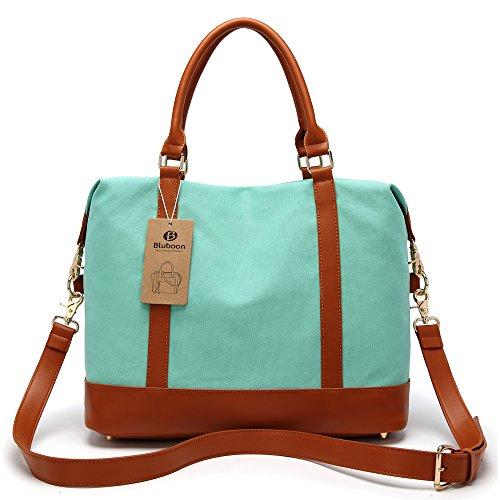 e5594d36dff Amazon.com   Women Ladies Canvas Travel Weekender Bag Overnight Carry-on  Tote Shoulder Bag Duffel in Trolley Handle (Mint Green)   Carry-Ons