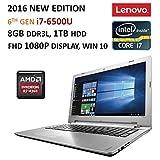 "2016 Newest Lenovo IdeaPad 15.6"" FHD Flagship Laptop, Intel Core i7-6500U,AMD R7 M360 Graphics 2GB, 8GB RAM, 1TB HDD, DVD, Backlit Keyboard, Bluetooth, HDMI, 802.11AC, Intel 3D RealSense Camera, Win10"