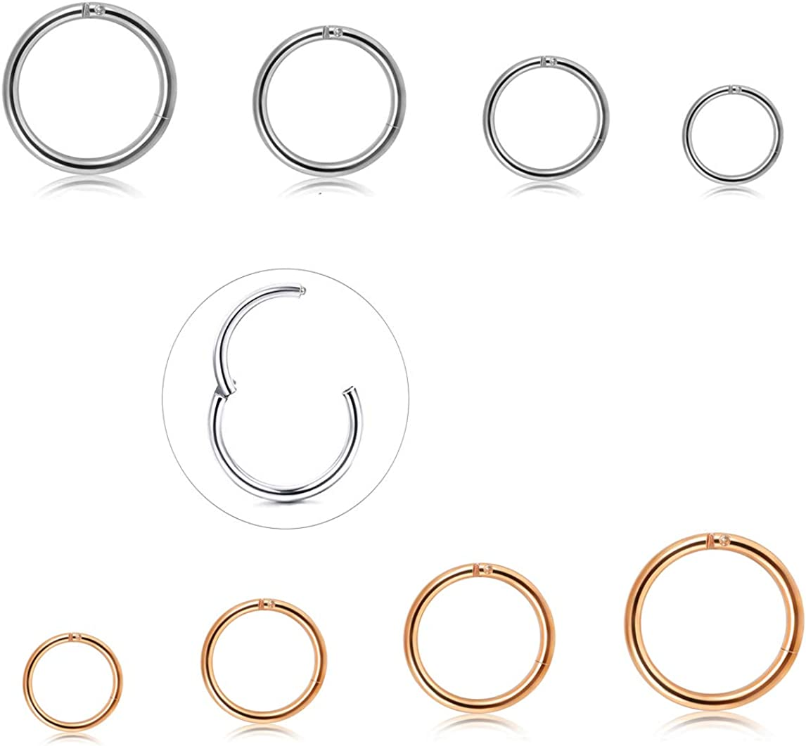 Jstyle 8Pcs 16G Stainless Steel Improved Hinged Clicker Segment Nose Rings Hoop Helix Cartilage Daith Tragus Sleeper Earrings 6-12MM