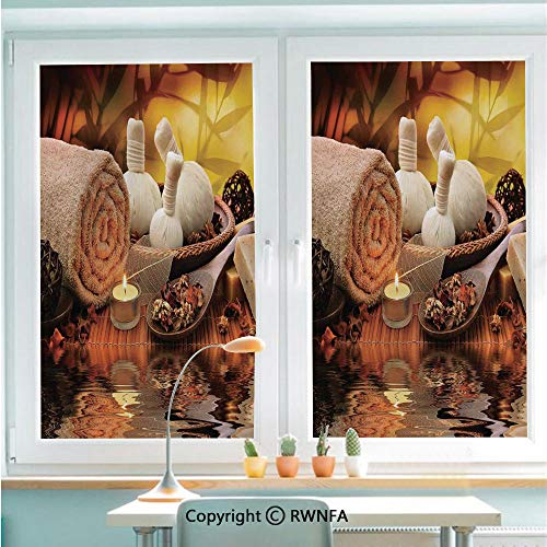 RWNFA Window Film Door Sticker Outdoor Spa Massage Setting at Sunset with Candlelight Reflections Culture Glass Film Both Suitable for Home and Office,22.8 x 35.4inch,