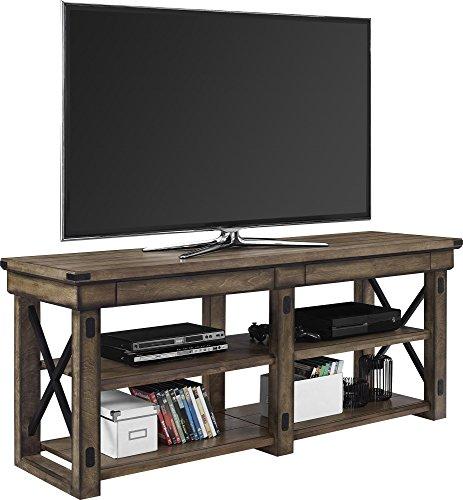 "Ameriwood Home Wildwood Wood Veneer TV Stand for TVs up to 65"" Wide, Rustic Gray"