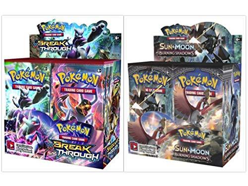 Pokémon XY Breakthrough Booster Box + Sun & Moon Burning Shadows Booster Box Pokémon Trading Cards Game Bundle, 1 of Each -