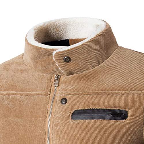 Uomo Inverno Caldo Monopetto Stand Pocket Addensare A Khaki Colletto Xl up Moda Abbigliamento Velluto Giacca Zacard Autunno Cappotto Design Maschile Coste z5ZqEO