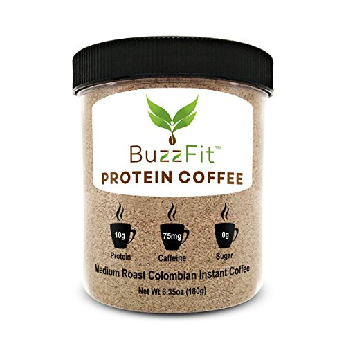 BuzzFit Protein Coffee - Colombian Coffee w/ 10g of Whey Protein, served hot