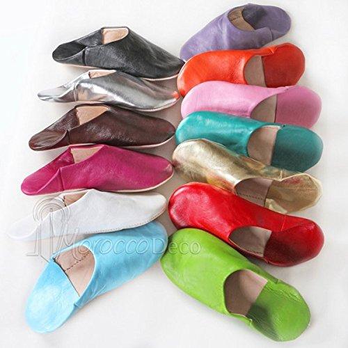 Babouche Kenza marron, Babouche marocaine en cuir véritable, pantoufles alliant du confort et de l'élégance, chaussons cousus main, mocassins femme