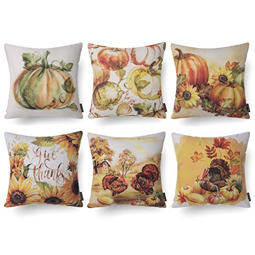 Phantoscope Set of 6 Fall Sunflower Pumpkin Yellow and Green Throw Pillow Case Cushion Cover 18