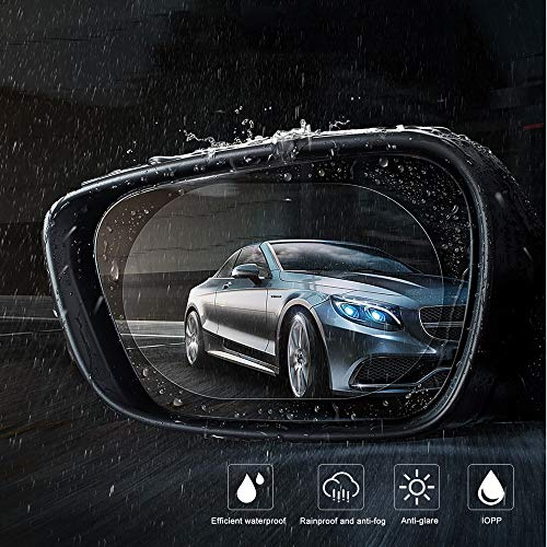 (Zosam 2PCS Anti Fog Rainproof Rearview Mirror Film, Waterproof Anti Glare Mist Scratch, Drive Safely HD Clear Nano Film, Repel Water Car Mirror Side Window Protective Membrane (Oval 5.9x3.9inches))