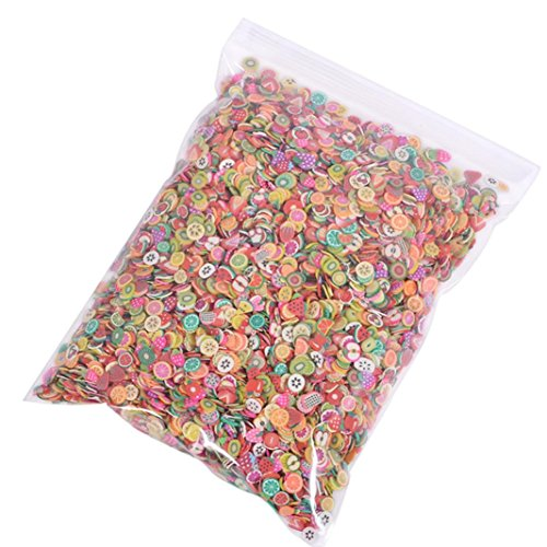 Rambling 1000pcs Mini 3D Fimo Slice Fruit Face Decorations ,Nail Art Decoration,or Sticking to Slime ()