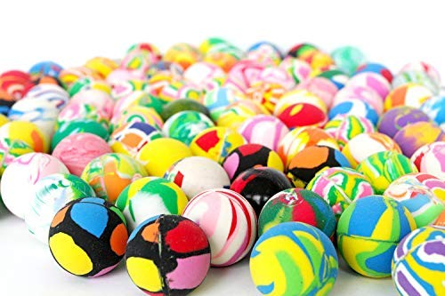 (Assorted Rubber Super Bouncy Balls | Buy in Bulk | Bag of 100 | Small Rubber High Bouncing Toy Balls | Vending Machine Balls 27mm | Party Favor Balls | 1 inch Multi Color Toy Balls)