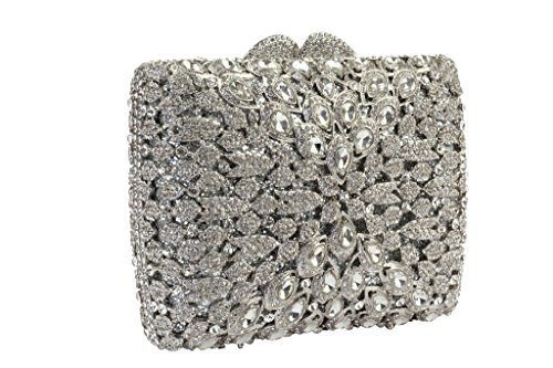 Yilongsheng Brillant carrée Soirée d'embrayage Sacs avec Diagonal cristaux pour dames (Argent)