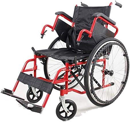QZPM Multifunktionsrollstuhl aus Karbonstahl Leichter, zusammenklappbarer Rollstuhl mit roter Lackierung und anhebbarer...