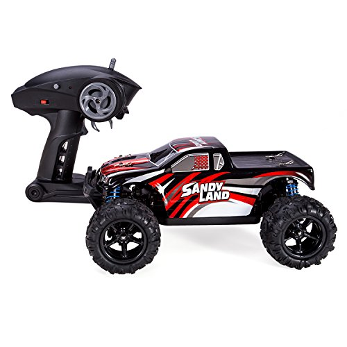 4WD High Speed Cars RC 1 18 Truck Offroad Electric Fast 2.4Ghz Radio Remote Control Buggy Hobby Car Equipped with 7.4V 850MAH Rechargeable Battery 30MPH Remote Best Christmas Gift(Colour:Red) (Rc Trucks Cars compare prices)