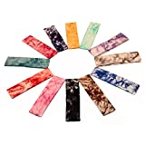 Yeshan Set of 12pcs Non slip Cotton Lycra Tie Dye Stretch Moisture Wicking Elastic Sports Headband/Head wrap/Yoga Headband/Head Sarf,Mix colors