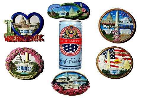 Washington DC 3D Ceramic Magnet Souvenir Gift Bundle-I Love DC- US Capitol-Washington Monument-American Flag-The White House- American Eagle -Lincoln Memorial-With Air Of America Unique Souvenir Can
