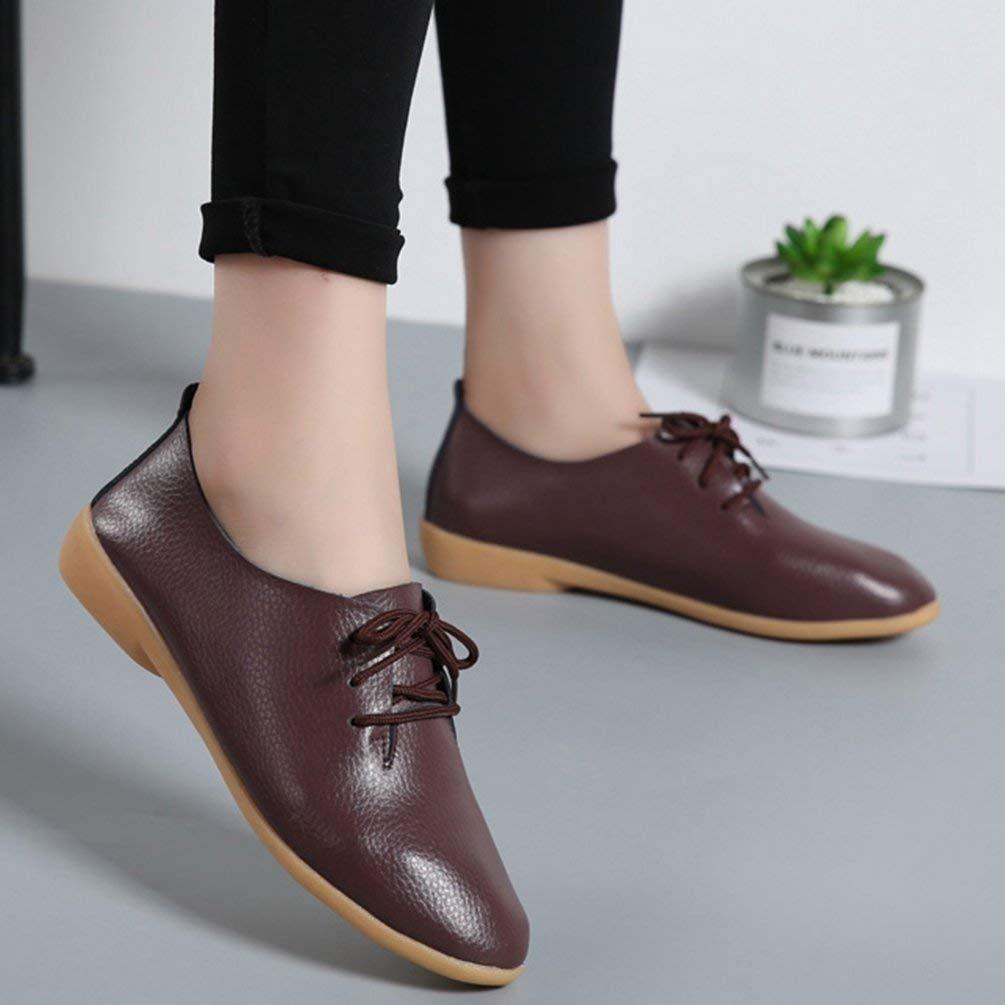 ZHRUI Frauen Wohnungen Mode Kausal Loafer Echtes Leder Damen Spitzschuh Schuhe Schnüren Damen Leder Schuhe (Farbe   Kaffee, Größe   5=38 EU) 1708c1