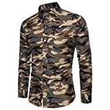 Clearance Sale Men Shirts vermers Men's Casual Camouflage Print Pullover Long Sleeve T-Shirt Top Blouse(L, Khaki)