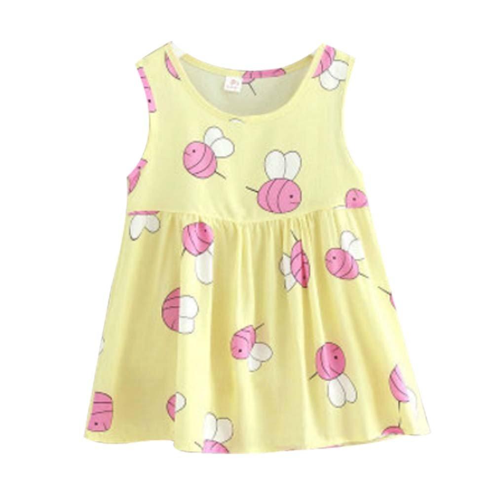 Koala Superstore Sleeveless Cotton Dress Vest Skirt for Girls Home Nightdress Kids' Pajama [B]