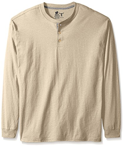Hanes Men's Long-Sleeve Beefy Henley Shirt, Pebble Stone Cross Dye, 3X Large