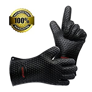 Homar Set of 2 Silicone Heat Resistant BBQ Grill Gloves Oven Mitts & Pot Holder - Best in BBQ Accessories - Waterproof Max Heat Gloves Perfect for Cooking, Camping, Grilling, Smoking & Baking (Black)