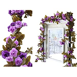 Lannu 2 Pack Artificial Rose Vine Flowers Fake Garland Ivy Flowers Silk Hanging Garland Plants for Home Wedding Party Decorations, (Purple) 44