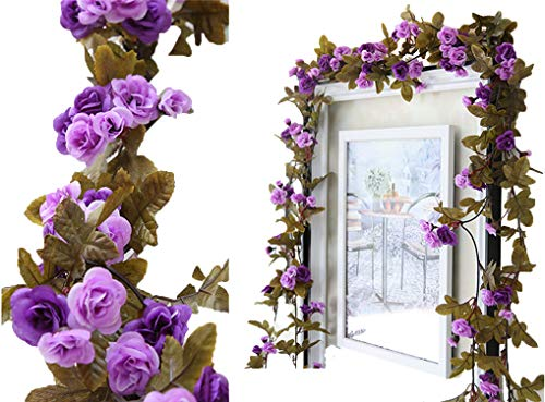 Rose Garland Mirror - Lannu 2 Pack Artificial Rose Vine Flowers Fake Garland Ivy Flowers Silk Hanging Garland Plants for Home Wedding Party Decorations, (Purple)